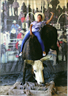Anita Bull Riding at the Days of '47 Rodeo. The bull is scared stiff! LOL)