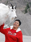 Anita Petting A Mountain Goat - 04-16-11