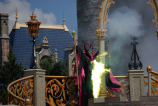 Maleficent arrives with green flames to interrupt our castle dream show