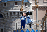 A Sweetheart Kiss between Mickey and Minnie