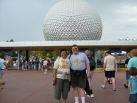 Epcot - Spaceship Earth ride in the background (inside the ball)