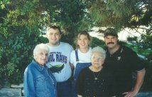 Grandmas Merle and Anne, with Jenn, Andy, and Rob - October 2000